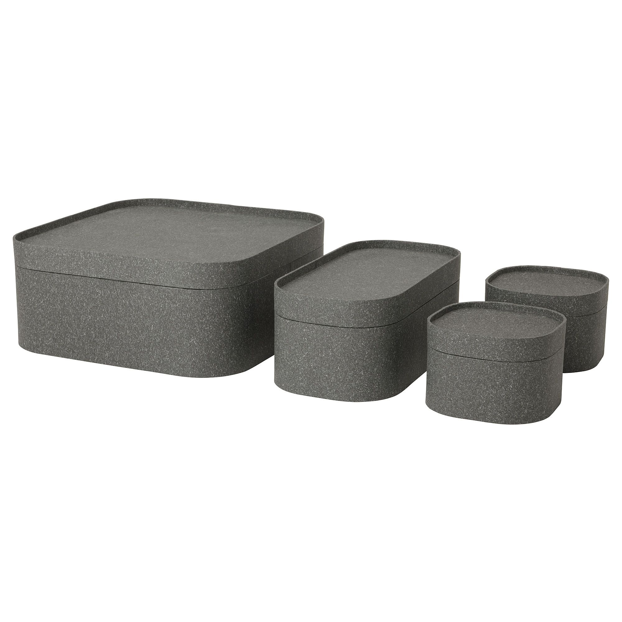 Schaukasten Ikea Sammanhang Box With Lid Set Of 4 Dark Gray Living Room Design