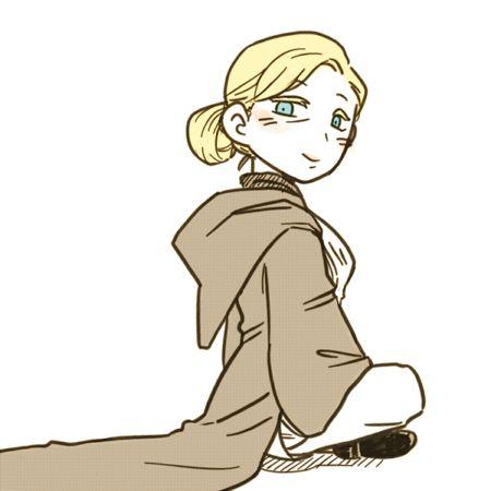1girl blonde_hair blue_eyes boots cloak crossed_legs female - obi baumarkt k chenm bel