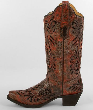 These are my boots that I will be wearing to the concerts... They are a reddish color with black sequins in the inlay... Need tops that won't clash horribly with them :)