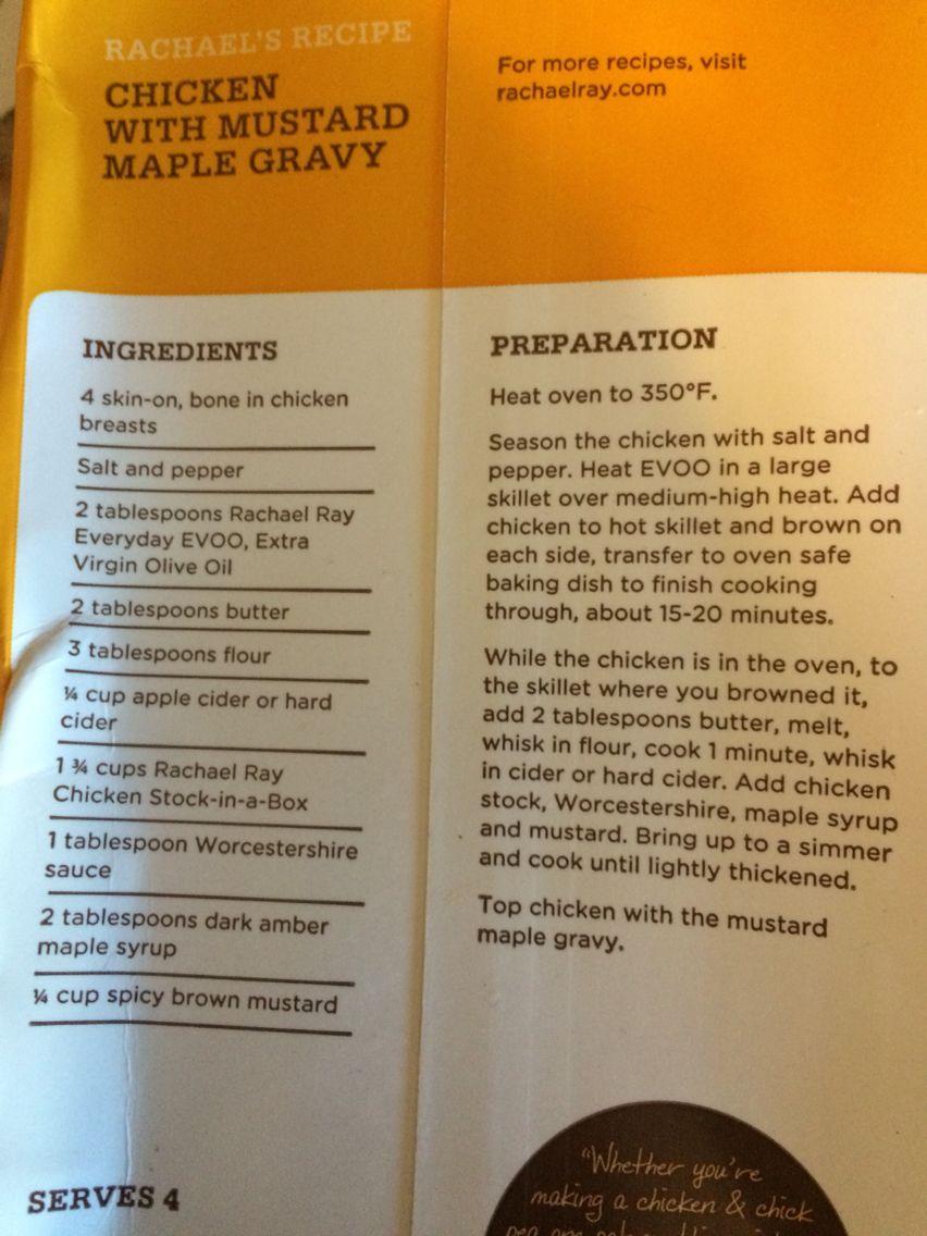 Chicken And Mustard Maple Gravy