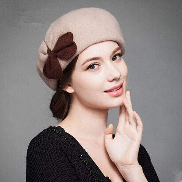 83229427f96 Double bow beret hat for women elegance winter wool hats