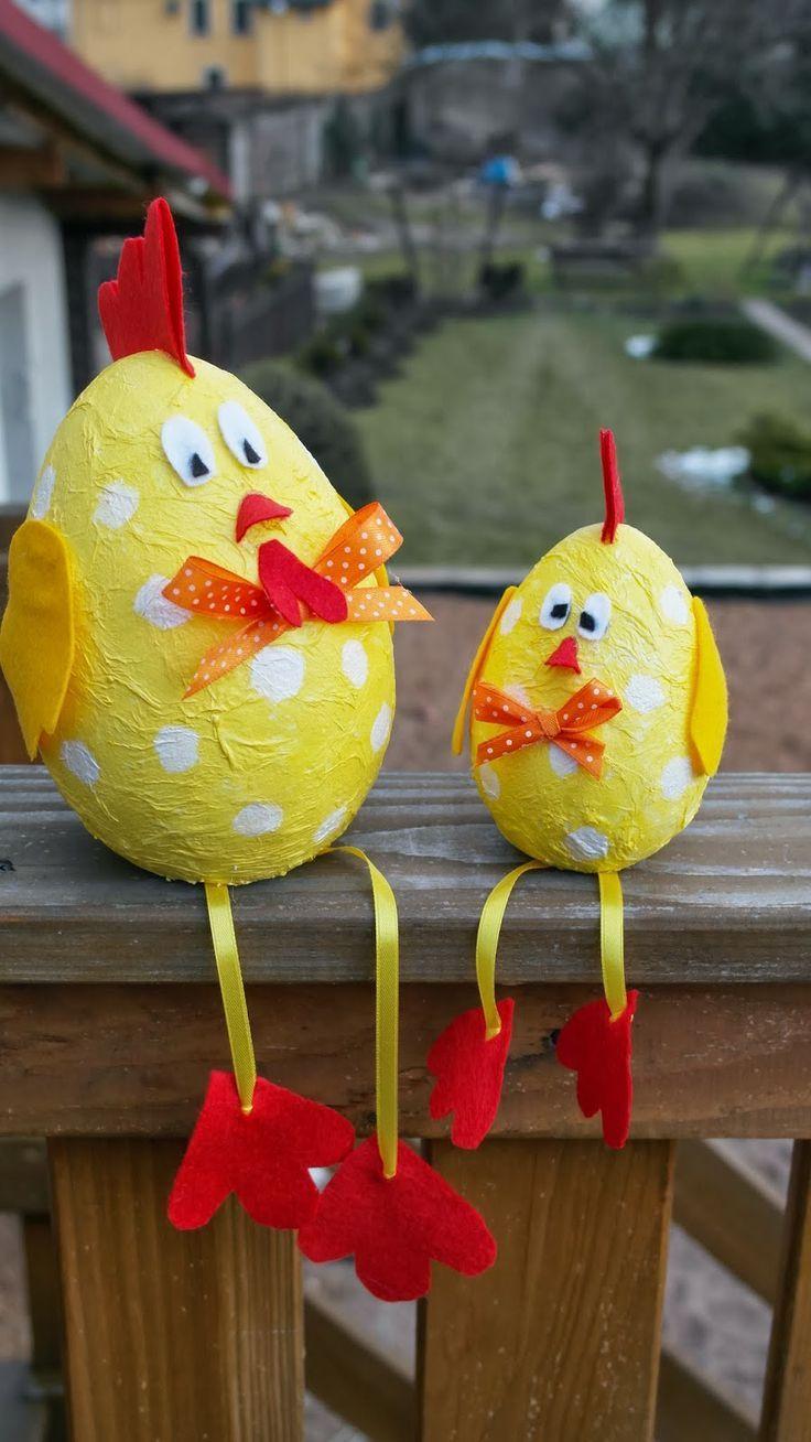easter chickens idea for decorations ostern pinterest ostern basteln mit kindern und basteln. Black Bedroom Furniture Sets. Home Design Ideas