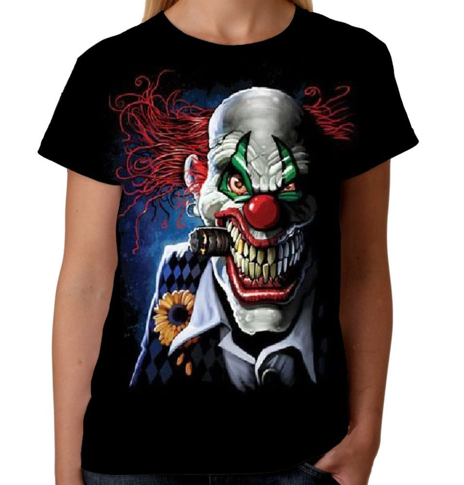 Velocitee Ladies Joker Clown T Shirt Skull Horror Circus Evil Biker