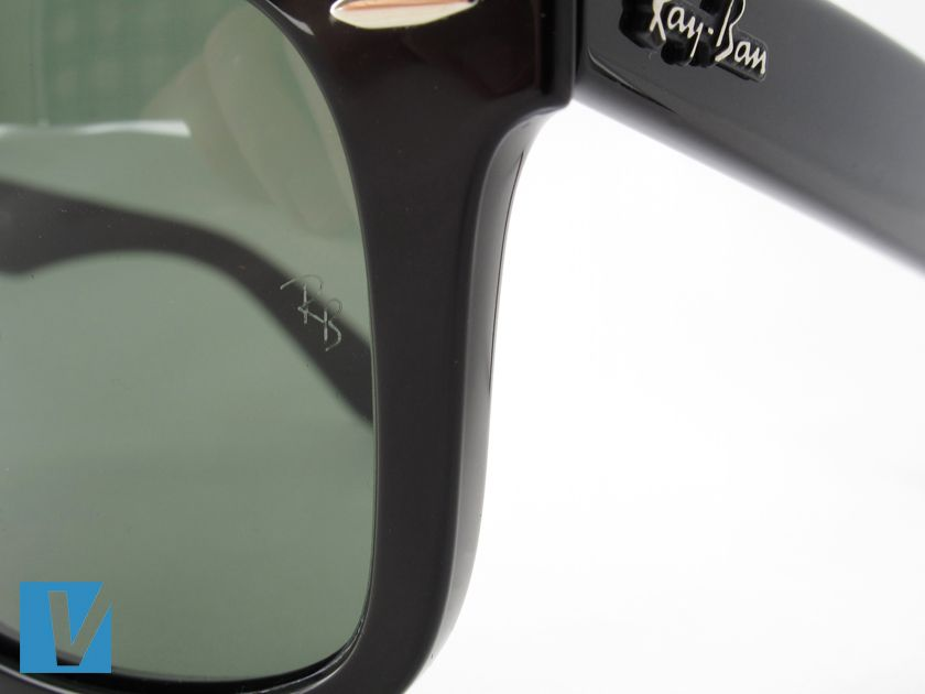 3630b0cdc00 New Ray-Ban sunglasses have a small  RB  etched on the left lense just  below the hinge. Compare the size and font carefully. The etching should be  very ...