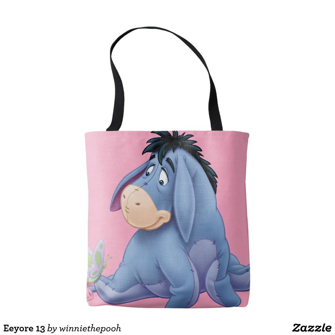 Cute Disney Eeyore Donkey Winnie The Pooh Love Quote Cotton Shopping Tote Bag