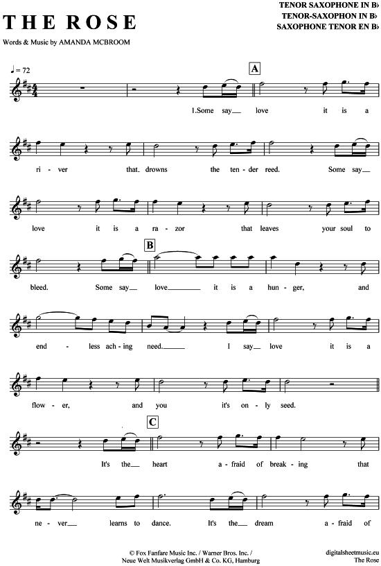 the rose tenor sax bette midler pdf noten gt gt gt klick
