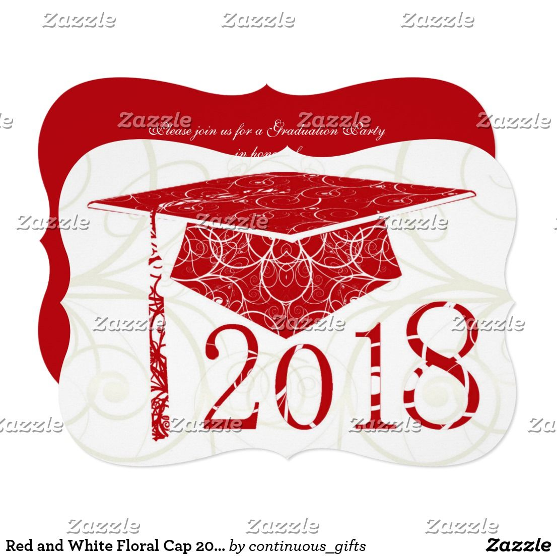Red and White Floral Cap 2018 Graduation Party Invitation | Pinterest