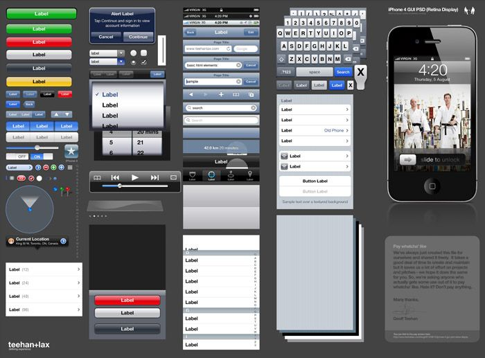 This iPhone 4 GUI PSD template makes it easy to