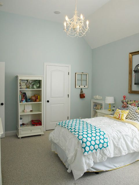 Pretty Paint Colors wall paint color: sherwin williams tradewind at 75%. bed was