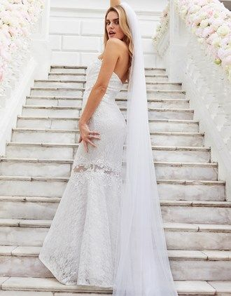 Bridal Multiway Allover Lace Maxi Dress with Sash Belt - White Lipsy dN9wz