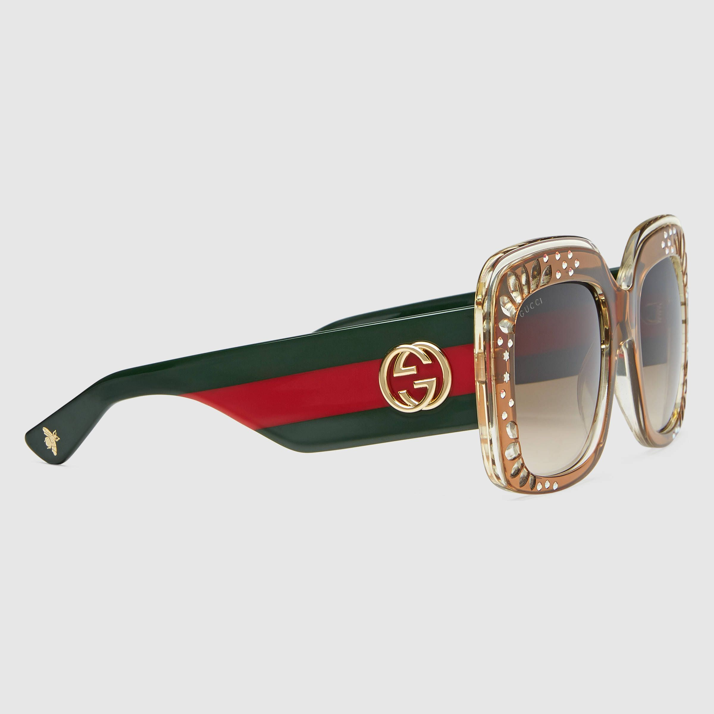 808469cd6 Gucci Women. Oversize square-frame rhinestone sunglasses. | Throwing ...