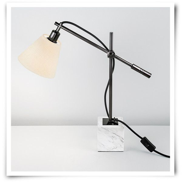 Chelsom Rock Desk Lamp Black Bronze Natural Linen Stone 455 Liked On Polyvore Featuring Home Lighting Lamps Cable Light