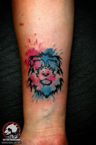 Tiny Lion Aquarelle Tattoo By Mad Art Tattoo Wrist Tattoos