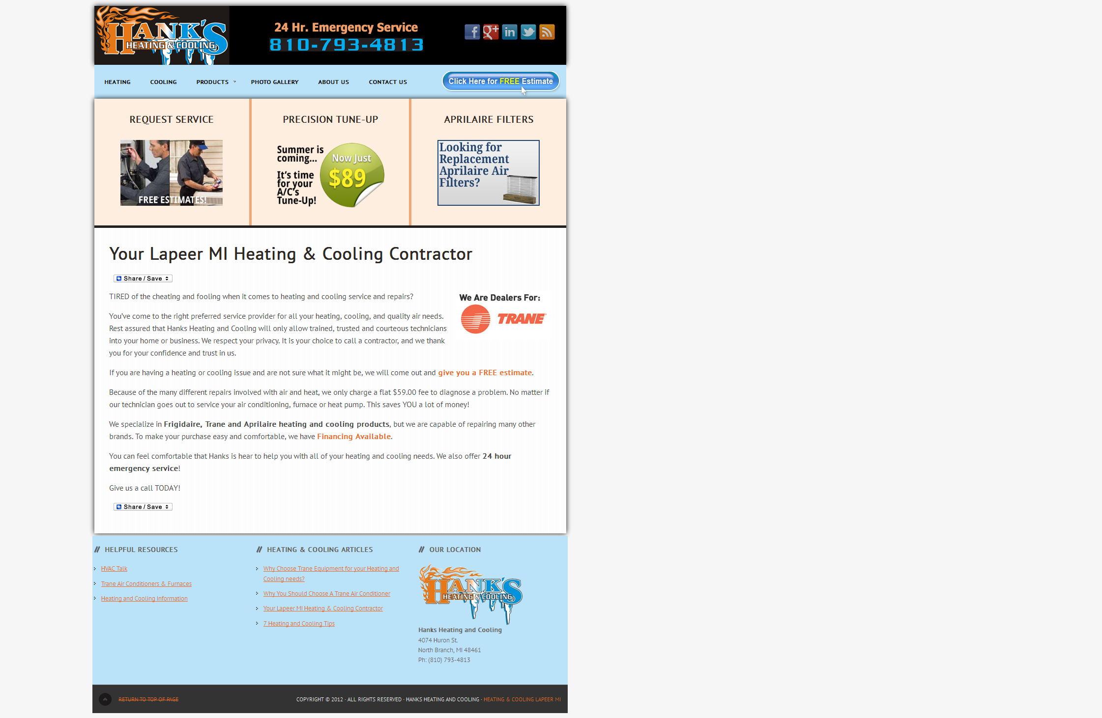 A website I redesigned for a heating and cooling company