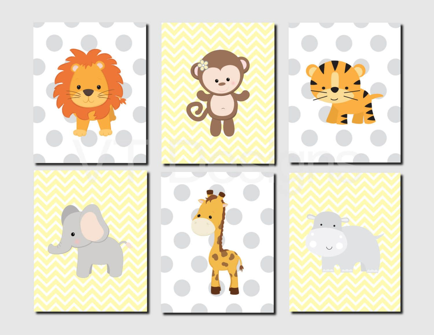 Jungle Animals Nursery Wall Art, Monkey, Lion, Tiger, Elephant ...