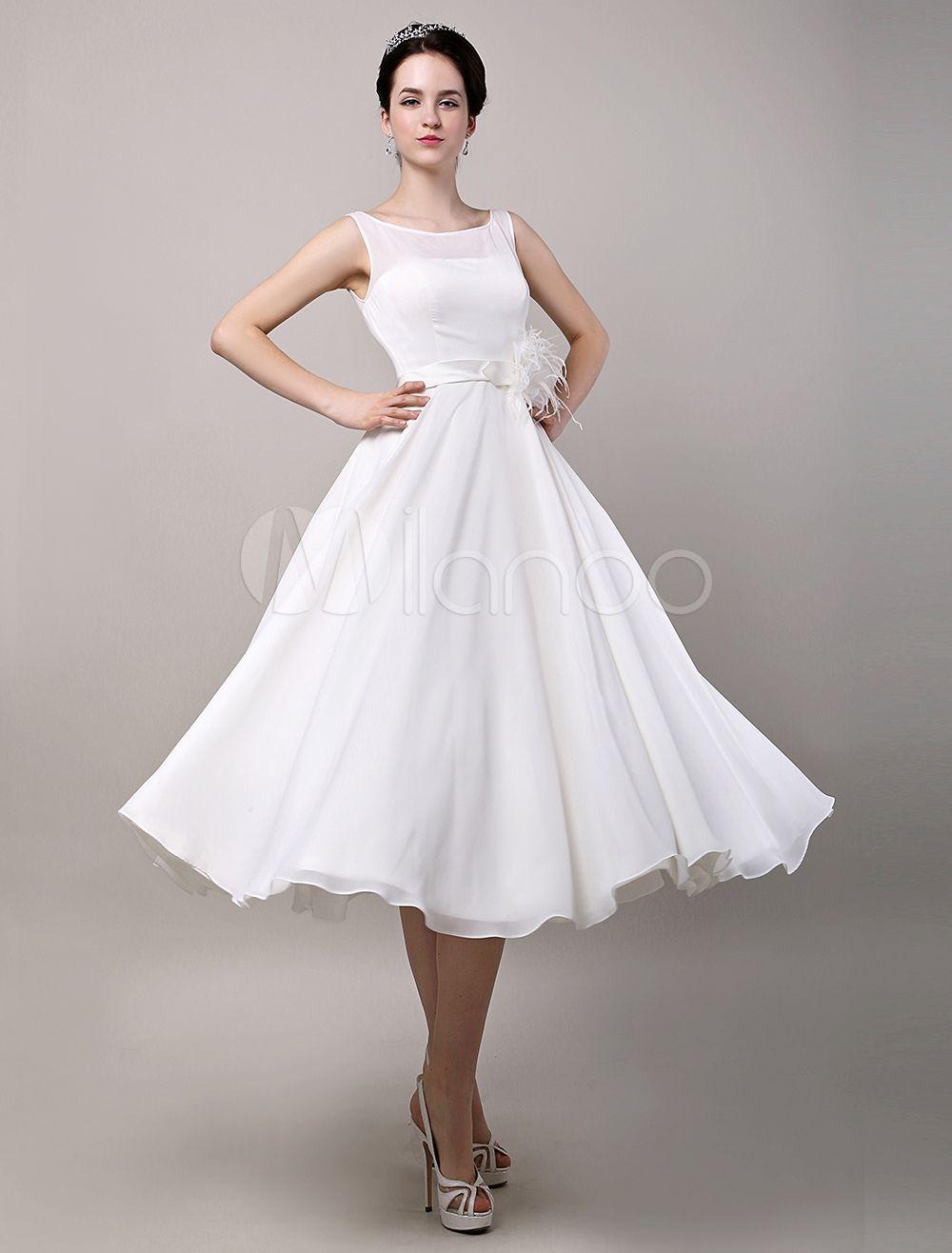 Wedding dresses tea length  Vintage Retro Chiffon Tea Length Wedding Dress  Wedding dresses