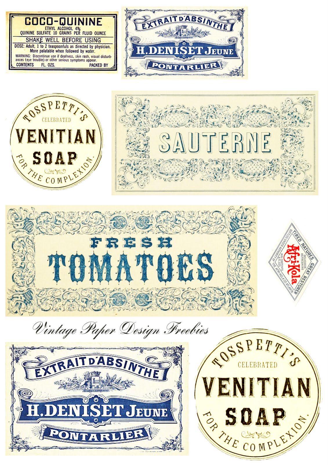 More Freebie Labels And Some More Ideas Vintage Printables Vintage Paper Designs Printable Labels