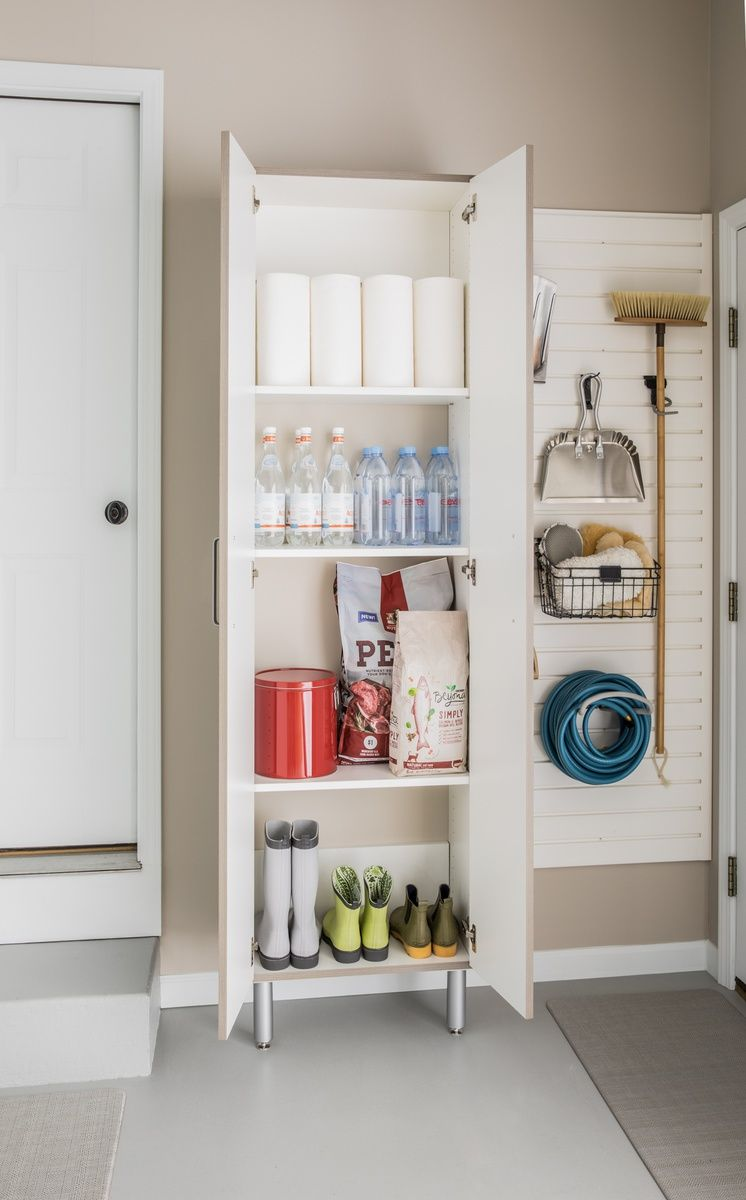 Entryway Organization With Tall Cabinet And Slatwall Accessories Easygarage Tall Cabinet With Doors Tall Cabinet Cleaning Cabinets