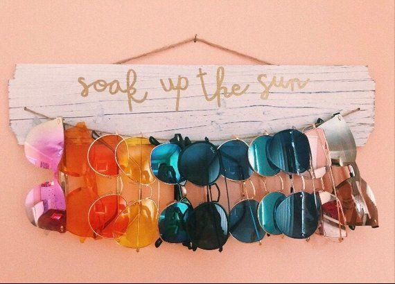 Rustic Sunglass Holder/Wall Display- Whitewashed Wood -   20 DIY Clothes Decoration inspiration ideas