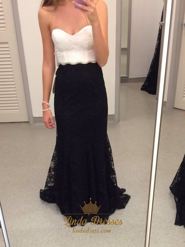 bf94394f745b3 lindadress.com Offers High Quality Elegant Floor Length Black And White  Strapless Mermaid Lace Prom Dress,Priced At Only USD $138.00 (Free Shipping)