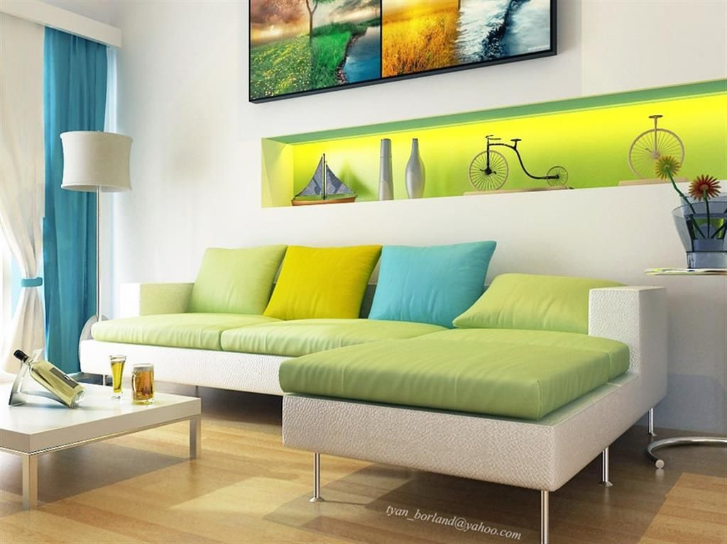 Living Room Decorating with Crative Colour Combination : Green Aqua L Shaped Sofa With Stainless Steel Legs And Circular Floor Lamp Shades