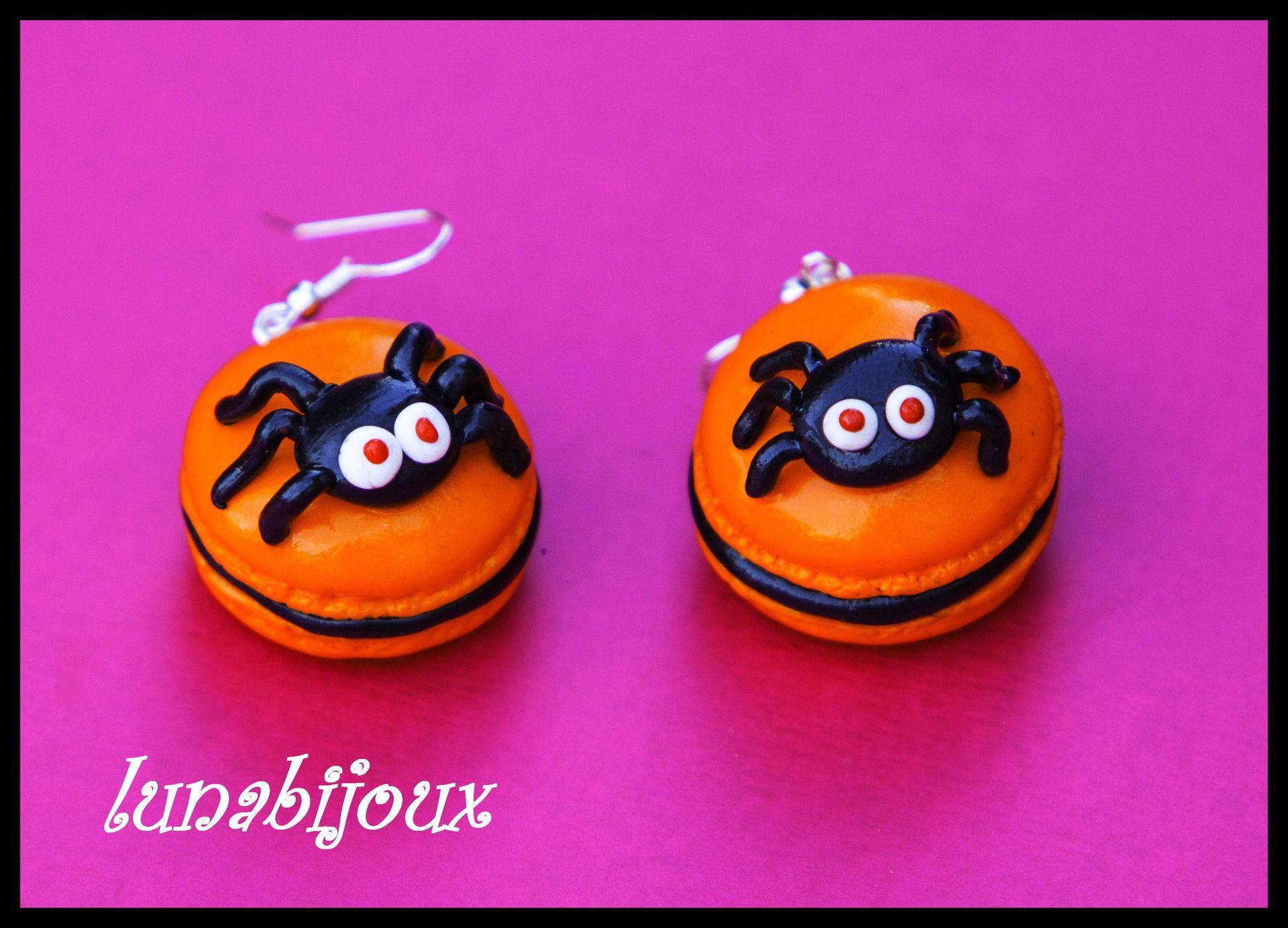 halloween fimo boucle d\u0027oreille macaron araignée bijoux