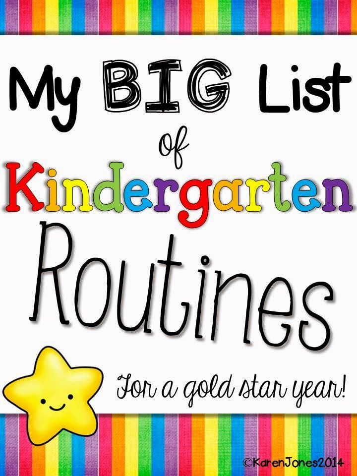 My Big List of Kindergarten Routines for a Gold Star Year
