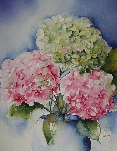 Hydrangeas Watercolor Flowers Floral Watercolor Flower Art