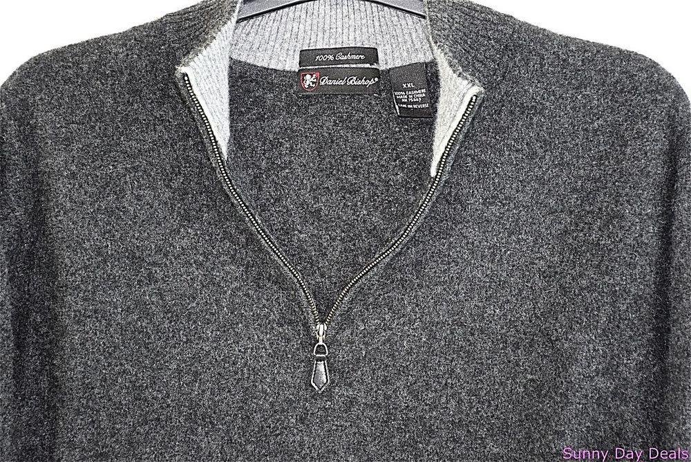 Daniel Bishop Mens Sweater Cashmere Half Zip 2XL Gray Solid Textured XXL…