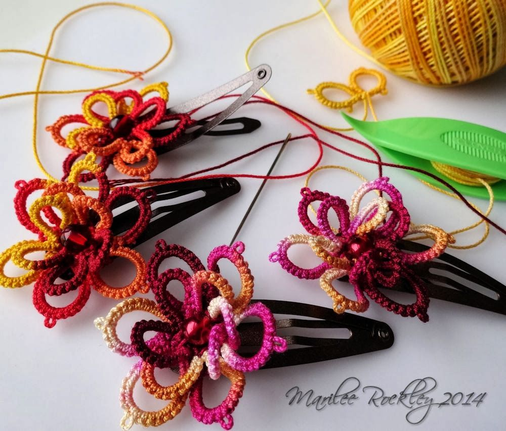 Yarnplayer's Tatting Blog: Hair clips, feathers, boomerangs