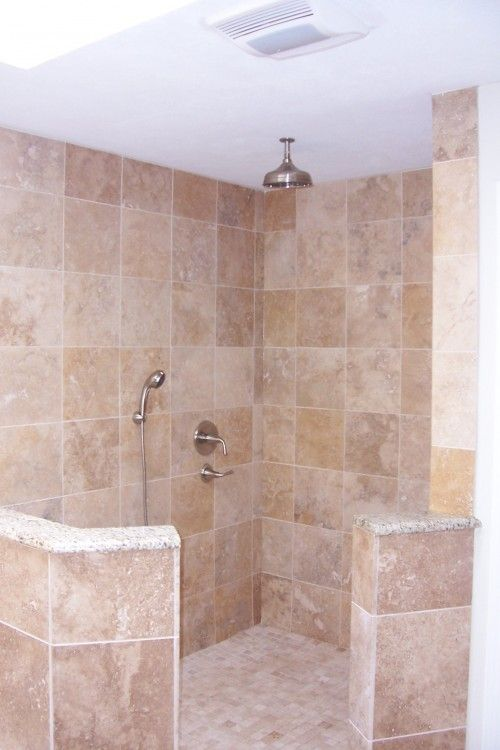 Open Shower Plan Love This Idea No Glass To Clean Just