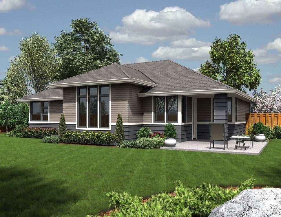 Modern Exterior House Colors rear rendering of mascord plan 1169es - the modern ranch | ideas