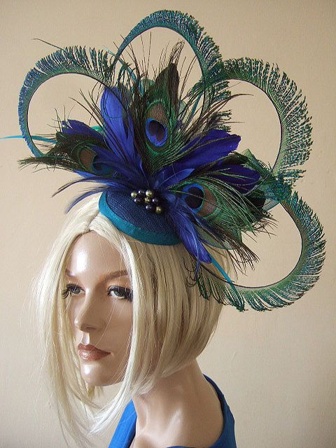 Curled Peacock Fascinator - Feathers Cluster with Graduated Crinoline and  Swarovski Pearls Blue Green b1e72b3b9f8