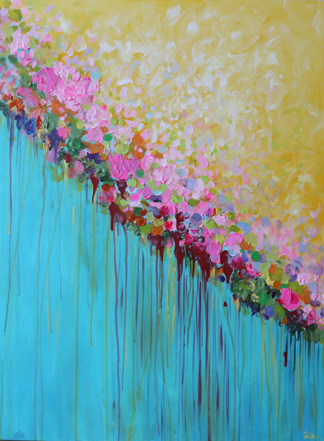 Abstract painting acrylic painting contemporary large for Painting large flowers in acrylic