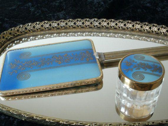 Vintage 1930's Vanity Set Miror tray Hand by NewGrooveVintage, $75.00