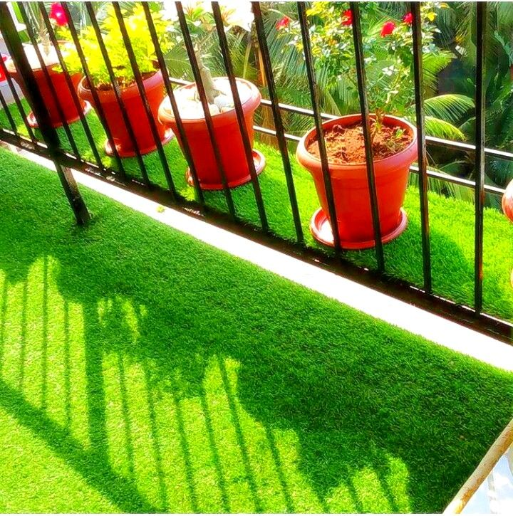 Artificial grass installed in a balcony artificial