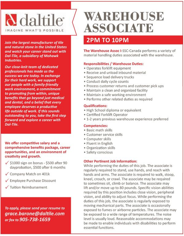 Are you looking for a #WarehouseAssociate #job? With #Daltile, you - warehouse skills