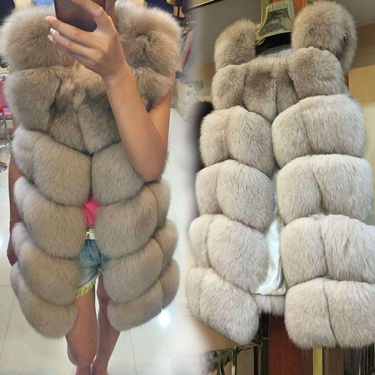 Genuine Fox Fur Vest Women Gilet Whole Luxury 100/% Real Fox Fur Waistcoat Gift