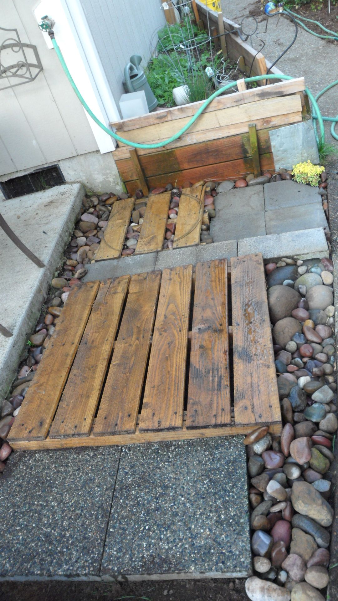 recycled pallets big and small, pavers, rainbow rock and cinder ...
