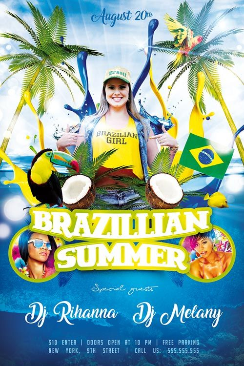Brazillian Summer Free Psd Flyer Template  HttpFreepsdflyer