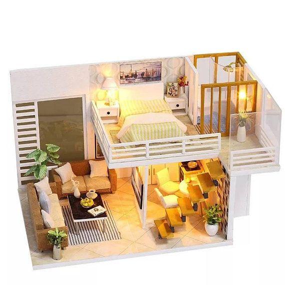 1 24 Loft Apartment Diy Diorama Dollhouse Kit Free Shipping Tiny House Design Dollhouse Furniture Kits Sims House
