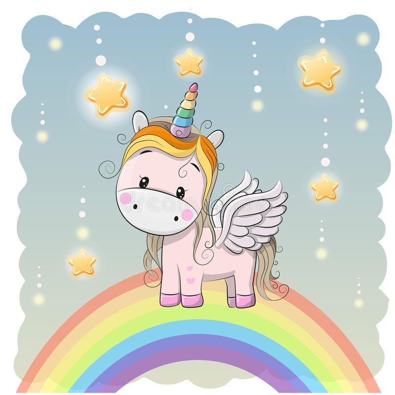 Cute Cartoon Unicorn On The Rainbow Vector Illustration Rainbow