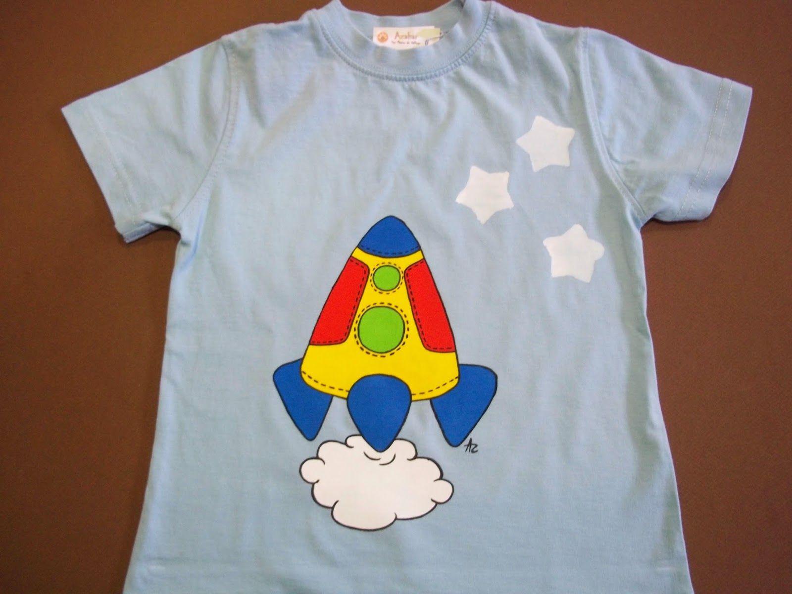 El Blanco Azahar Camisetas Infantiles Pintadas A Mano Pintura  ~ Ideas Para Decorar Camisetas Infantiles