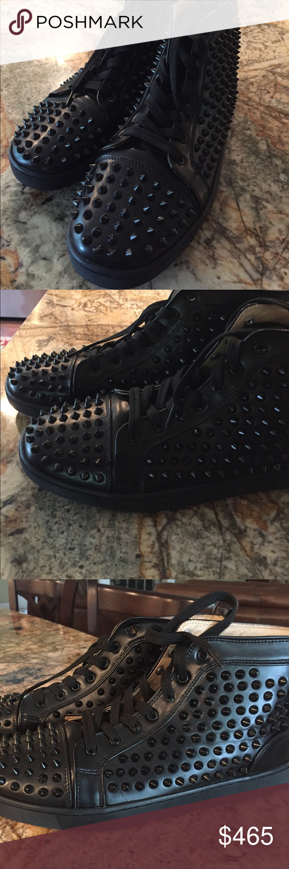 "black leather studded Christian Louboutin boots Awesome black leather Christian Louboutin boots, authentic, PRICED RIGHT!!, no studs missing, signature red leather soles, not perfect condition but very very good condition ( see pics), size 12, measures 12 "" on the soles , Comes from a smoke free home. Christian Louboutin Shoes Boots"