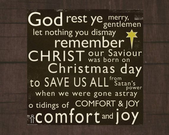 Merry Christmas Quote Wall Art Decal: God Rest Ye Merry Gentlemen... Printable 8X8 Christmas