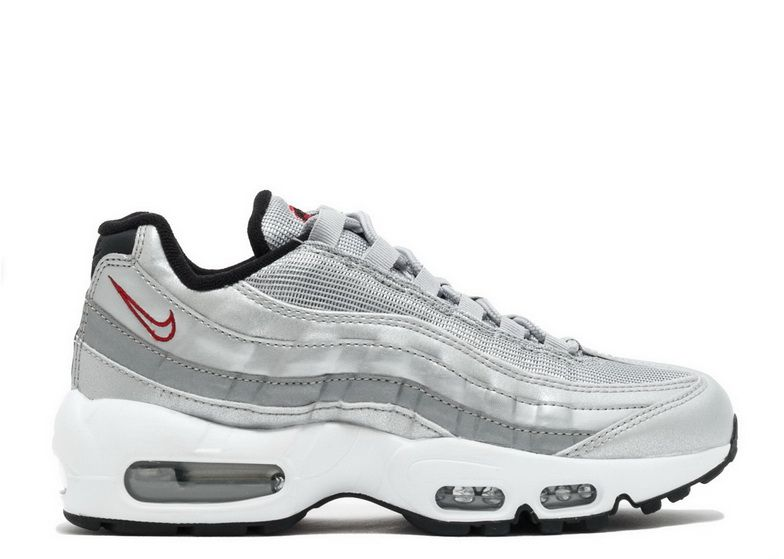 save off 222ef a36a5 Nike Air Max 95 Silver Bullet Metallic Silver Red White Fashion 2018 Sneaker
