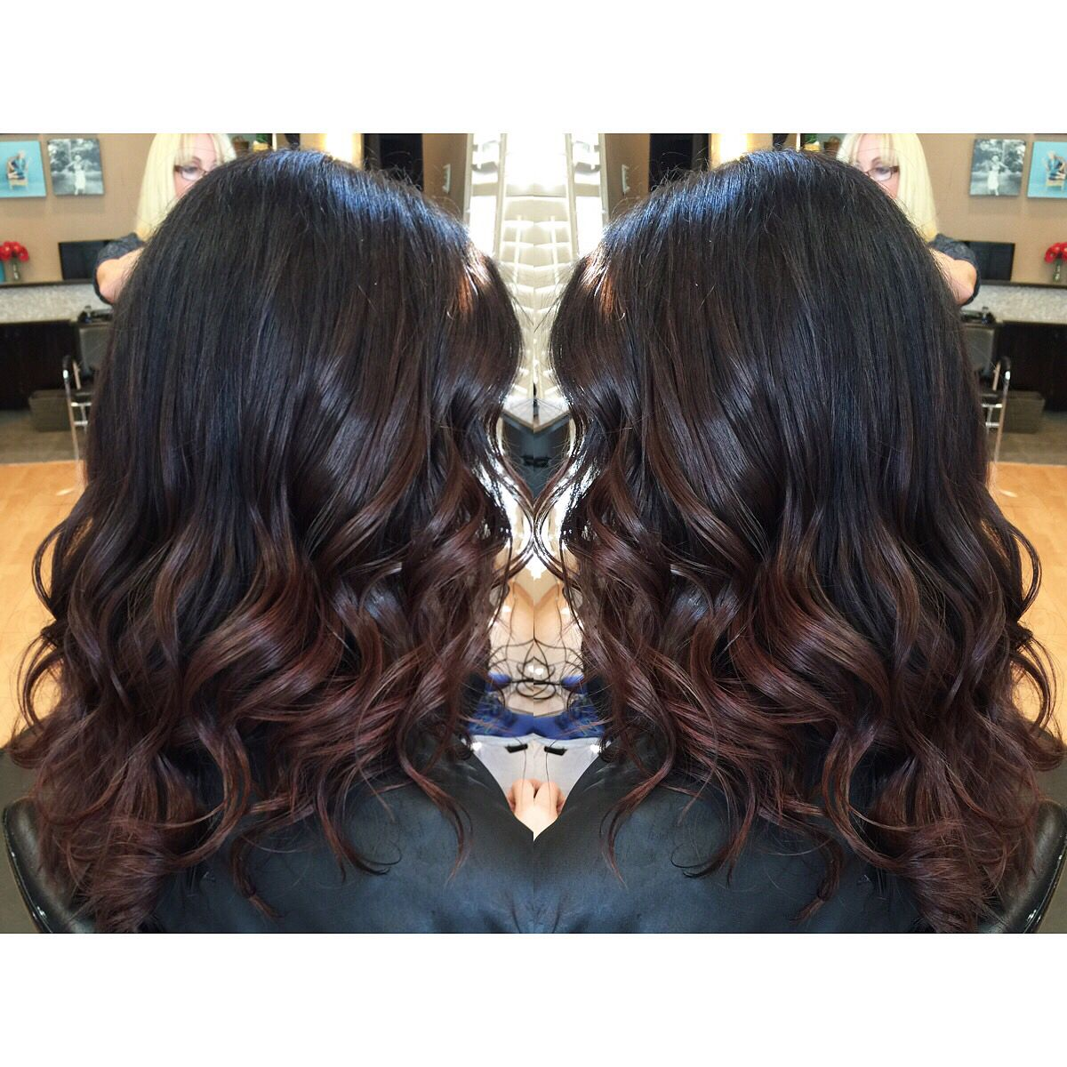 Dark Brunette Black Hair With Red Balayage Ombre Ends On