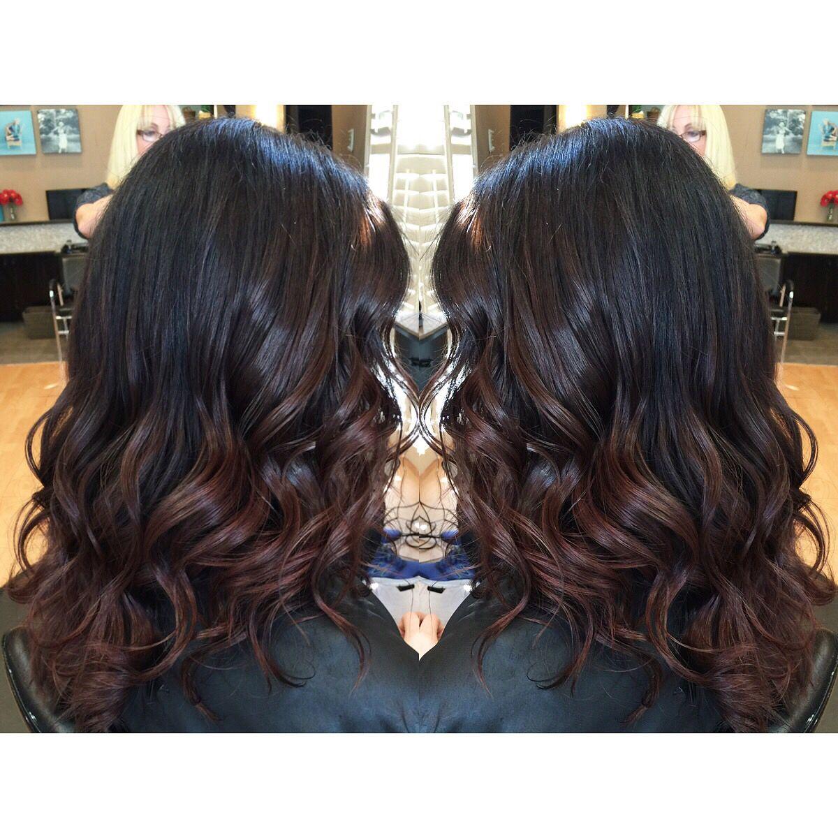 Dark Brunette Black Hair With Red Balayage Ombre Ends On Medium Long Hair Dark Brunette Balayage Hair Hair Color For Black Hair Red Hair Tips