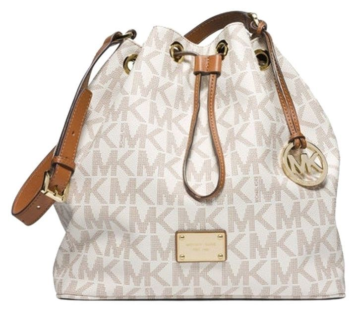 Michael Kors Signature Jules Large Convertible Bucket Shoulder Bag Vanilla  PVC  MichaelKors  ShoulderBag 7319cb6afde23