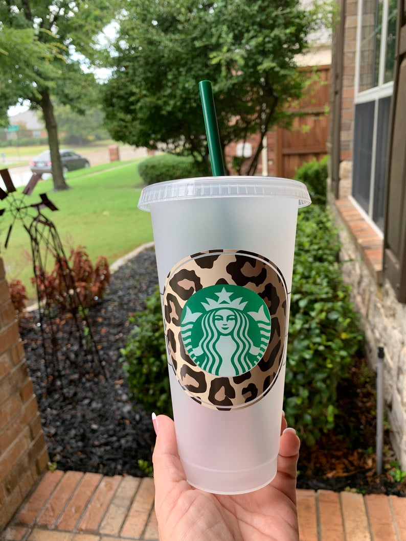 Leopard Custom Starbuck Cup, Starbucks Reusable Cup